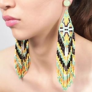 Boho tribal tassel beaded handmade earrings
